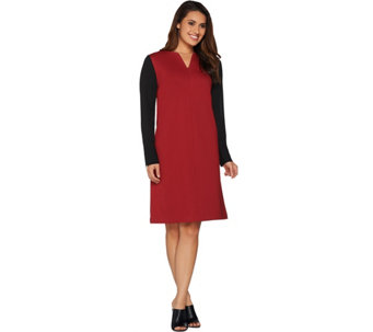Kelly by Clinton Kelly Georgette Sleeve V-Neck Ponte Dress - A283509