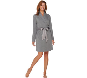 AnyBody Loungewear Cozy Knit Charmeuse Trim Robe - A283809