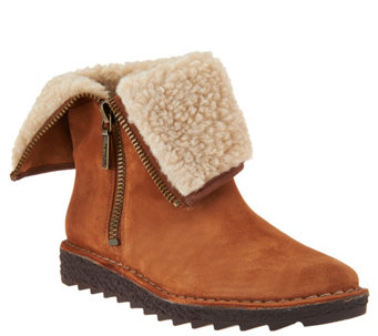 Clarks Somerset Suede Foldover Ankle Boots - Olso Beth - A284609