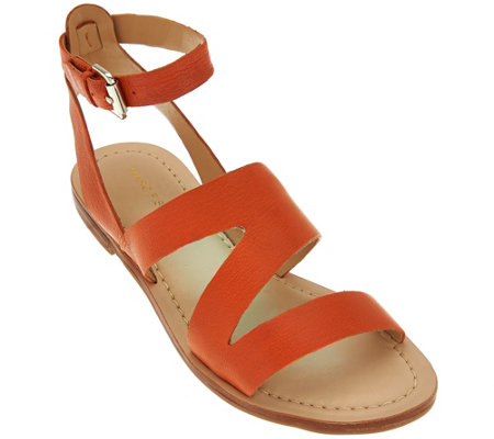 """As Is"" Marc Fisher Leather Multi-strap Sandals - Floretta"