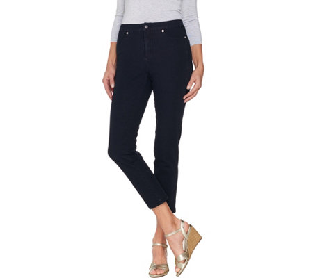 Isaac Mizrahi Live! Petite 24/7 Denim Fly Front Ankle Jeans