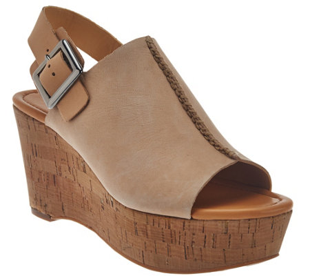 """As Is"" Marc Fisher Leather Open-toe Cork Wedges - Sinthya"