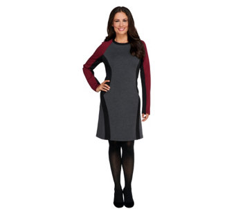 """As Is"" View by Walter Baker Long Sleeve Color Block Knit Dress - A287209"