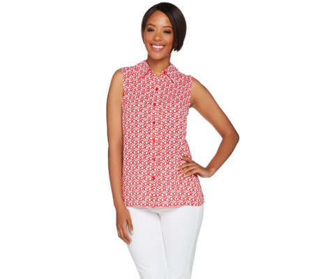 """As Is"" Susan Graver Printed Feather Weave Sleeveless Shirt"
