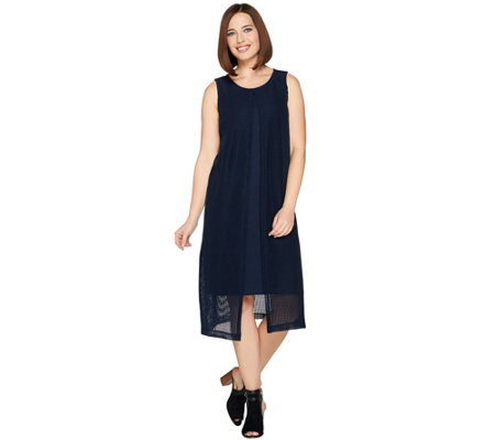 H by Halston Regular Sleeveless Knit Midi Dress with Overlay
