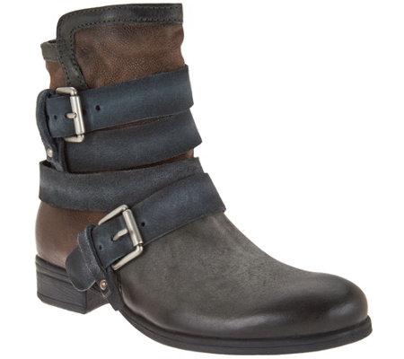 """As Is"" Miz Mooz Leather Mid-Calf Boots with Buckle Detail - Slater"