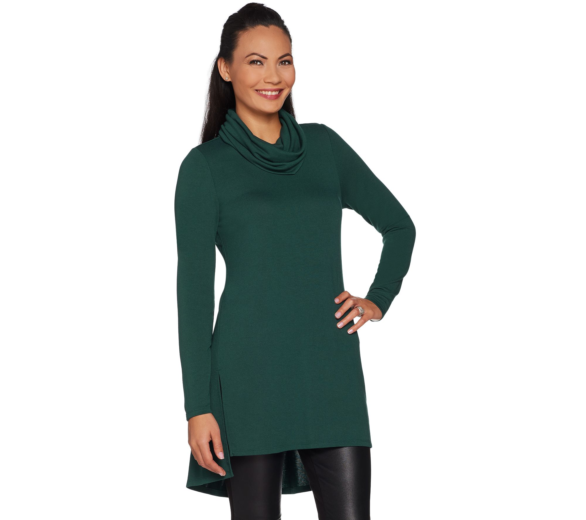 Cowl Neckline: (QVC) Lisa Rinna Collection Cowl Neck Tunic With Seam