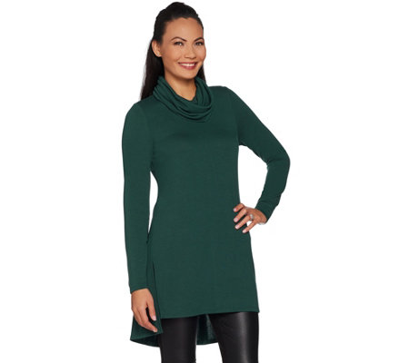 Lisa Rinna Collection Regular Cowl Neck Tunic with Seam Detail