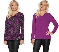 Denim & Co. Set of 2 Perfect Jersey Long Sleeve V-Neck Tops - A299209