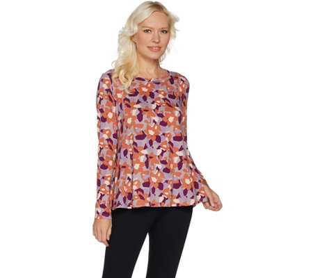 LOGO by Lori Goldstein Printed Top with Side Seam Pockets