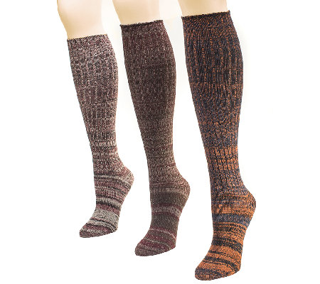 MUK LUKS Women's 3-Pair Marl Knee-High Socks