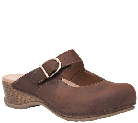 Dansko Open Back Leather Mary Jane Clogs - Martina