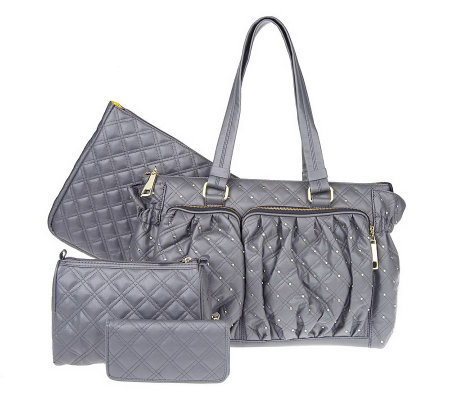 Quilted Nappa Essentials Studded Tote with 3 Matching Accessories