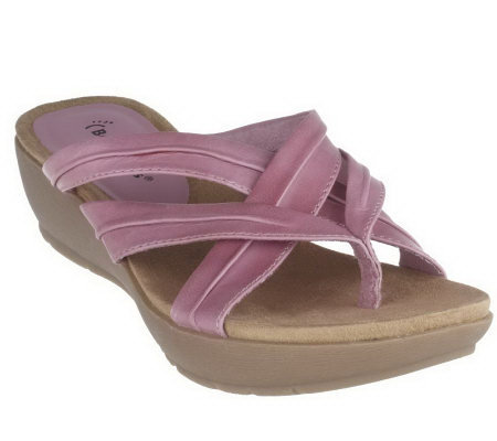 Bare Traps Leather Cross Strap Thong Sandals