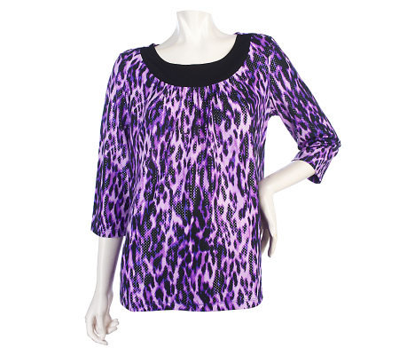 Susan Graver Animal Print Liquid Knit 3/4 Sleeve Top with Sparkles