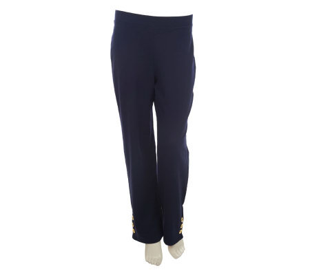 Susan Graver French Terry Pull-on Regular Pants with Button Detail