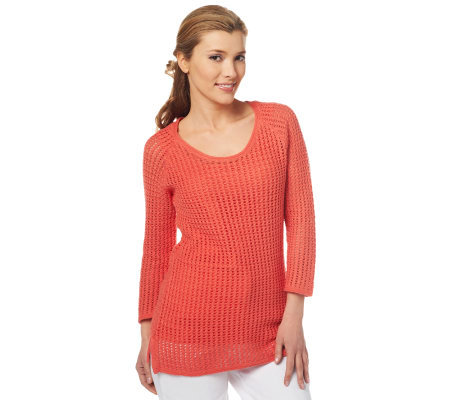 Liz Claiborne New York Scoop Neck Open Stitch Sweater w/Tank