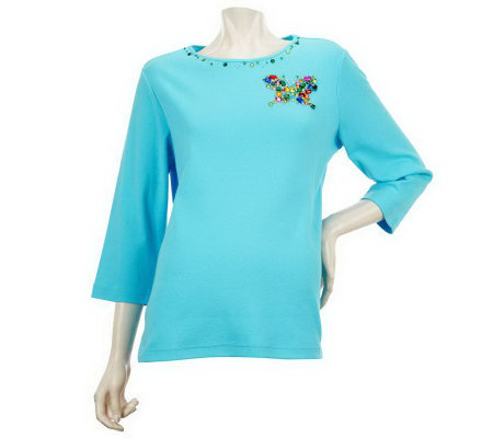 Quacker Factory Jeweled Design 3/4 Sleeve T-shirt