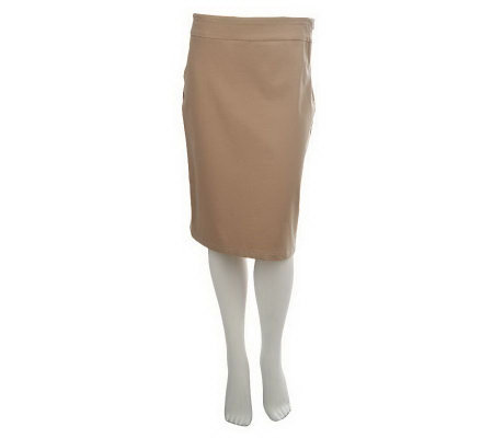 Women with Control Flat Front Twill Pencil Skirt