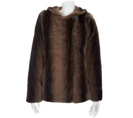 Dennis Basso Chinchilla Print Faux Fur Hooded Coat