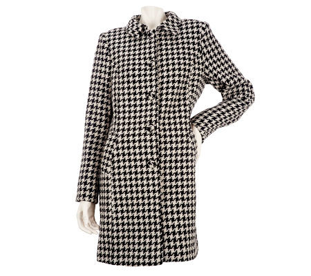 Kris Jenner Kollection Houndstooth Button Front Coat