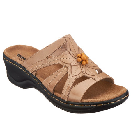 Clarks Leather Slides w/ Bead Detail - Lexi Myrtle