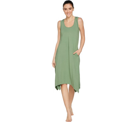 Cuddl Duds Flex Wear Key Hole Back Handkerchief Lounge Dress