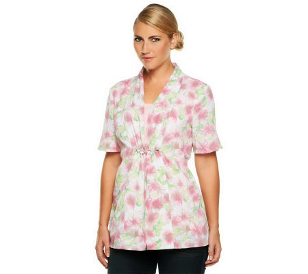 Denim & Co. Short Sleeve Floral Duet Top with Beading Detail