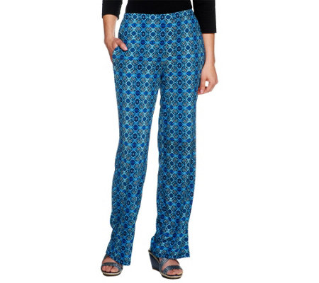 Attitudes by Renee Regular Printed Pull On Wide Pants w/ Pocket