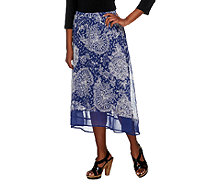 Liz Claiborne New York High Low Paisley Printed Pull-On Skirt - A252210