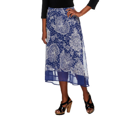 Liz Claiborne New York High Low Paisley Printed Pull-On Skirt