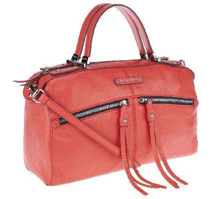 B. Makowsky Campbell Zip Top Leather Satchel