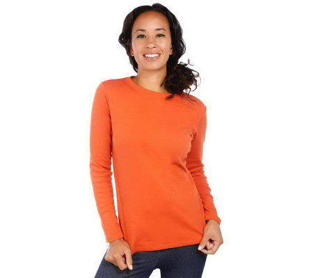 """As Is"" Isaac Mizrahi Live! Essentials Long Sleeve Knit Tee"