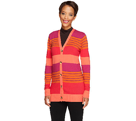 Liz Claiborne New York Striped Boyfriend Cardigan