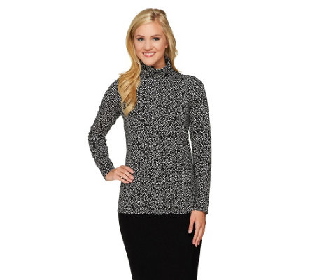 Liz Claiborne New York Long Sleeve Dot Print Knit Turtleneck