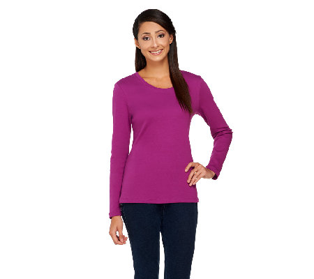 Isaac Mizrahi Live! Essentials Long Sleeve Scoop Neck Top