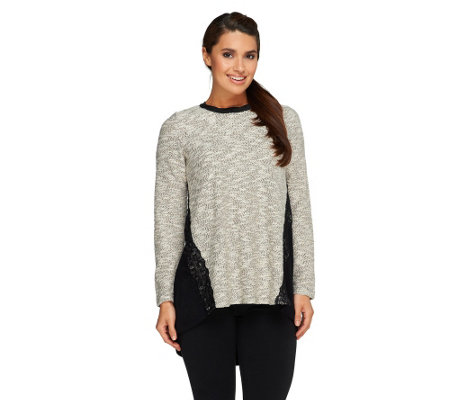 LOGO by Lori Goldstein Boucle Top with Lace Trim