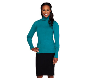 Linea by Louis Dell'Olio Whisper Knit Turtleneck with Rib Detail - A259110