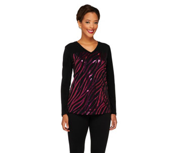 Bob Mackie's Sequined Safari Stripe Top - A259410