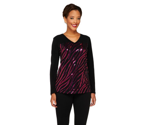 Bob Mackie's Sequined Safari Stripe Top