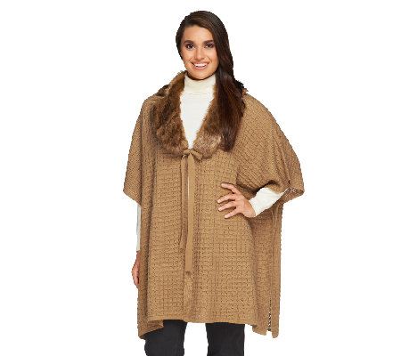 Dennis Basso Petite Sweater Poncho with Faux Fur