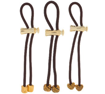 Pulleez Set of 3 Metal Charm Ponytail Holders - A261610