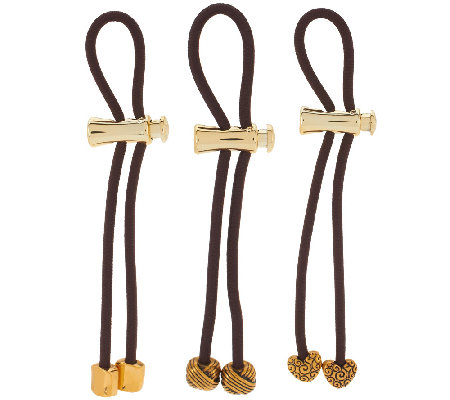 Pulleez Set of 3 Metal Charm Ponytail Holders