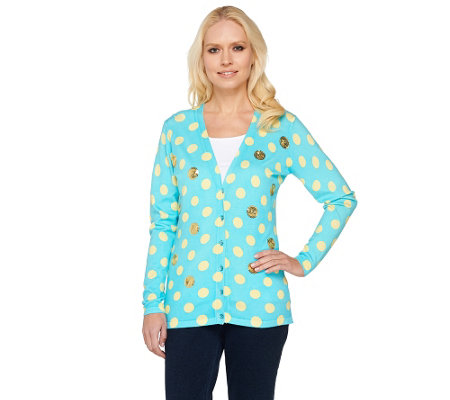 Quacker Factory Polka Dot and Sequin V-neck Cardigan