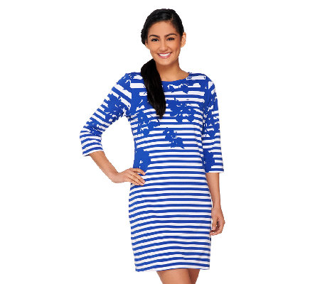 Liz Claiborne New York Petite Printed Stripe Knit Dress
