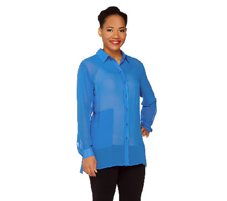 Susan Graver Sheer Chiffon Button Front Shirt with Pockets