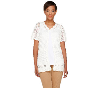 Joan Rivers Short Sleeve Crochet Cardigan - A263210