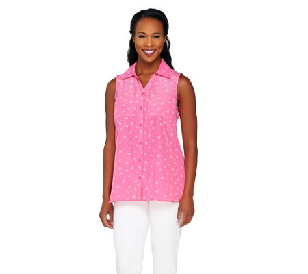Susan Graver Printed Woven Sleeveless Button Front Shirt