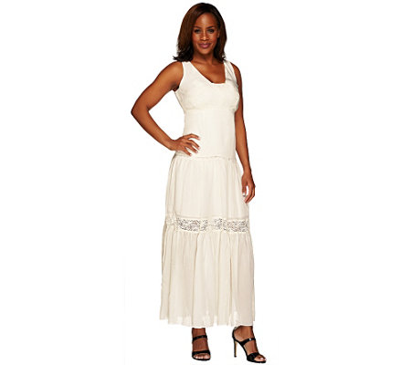 G.I.L.I. Petite Silk Tiered Lace Trim Maxi Dress