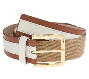 Isaac Mizrahi Live! Colorblock Leather Stretch Waist Belt - A264210